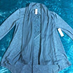 Blue Crochet-back Cardigan